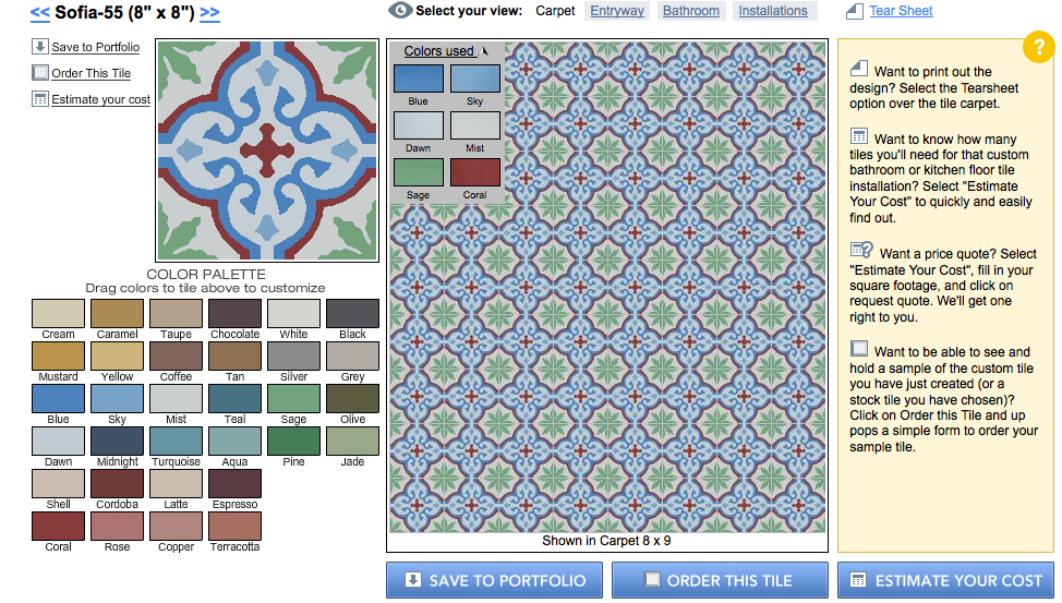 Customizing the colors of the Sofia design in Granada Tile's Echo Collection