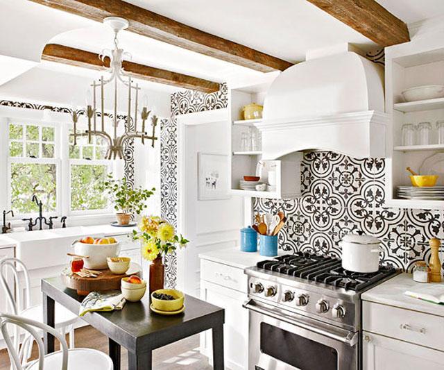 Cluny Kitchen backsplash wall Granada Cement Tile