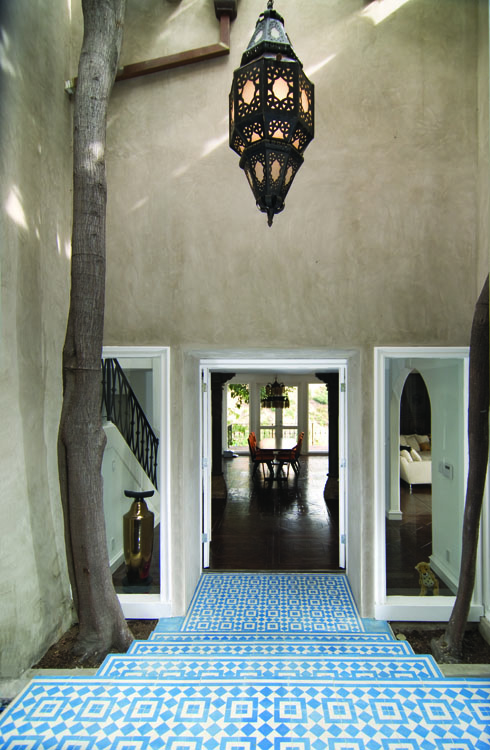Fez cement tiles used to make a Blue White Entry