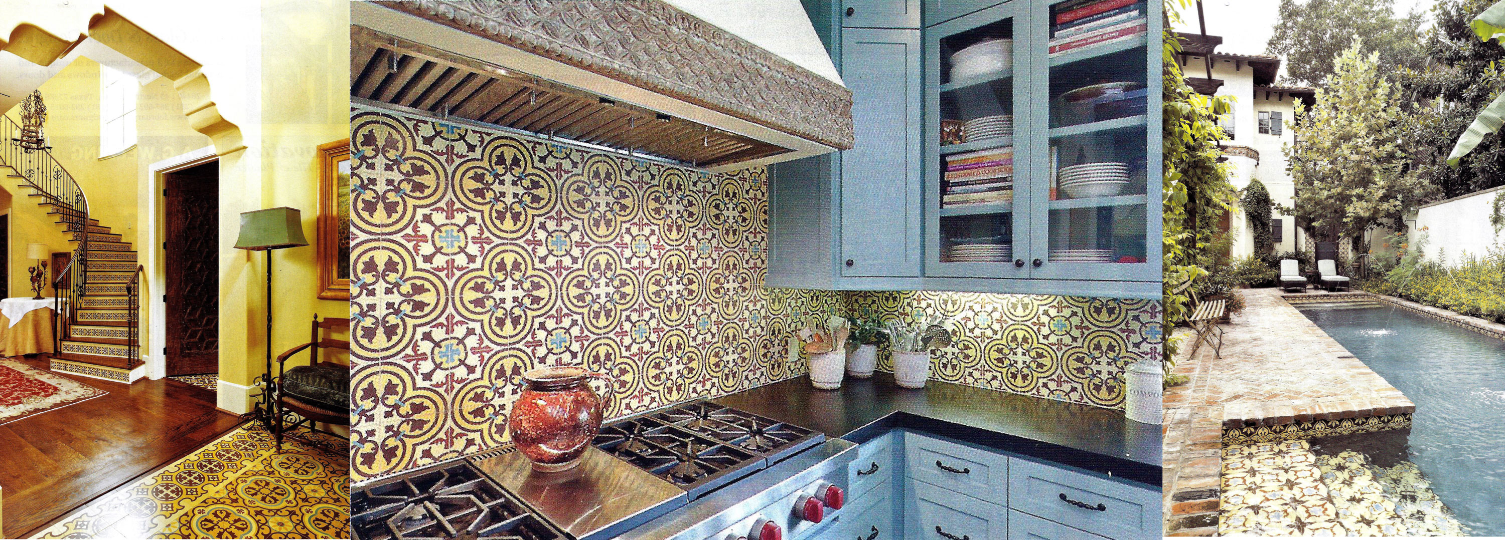Among The Cement Tile Styles That Hamelet Used Were Barcelona On Stair Treads Cluny Concrete Kitchen S Backsplash And Sofia Encaustic