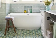 For a project featured in This Old House, Design Vidal creates a guest bathroom featuring Tunis cement tile