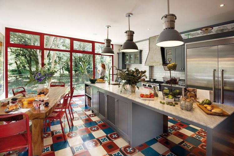 A patchwork Granada cement tiles on a kitchen floor