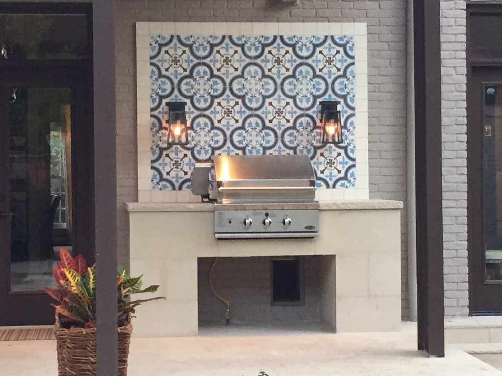Our Cluny Cement Tile Makes This Exterior Grill Sizzle ...