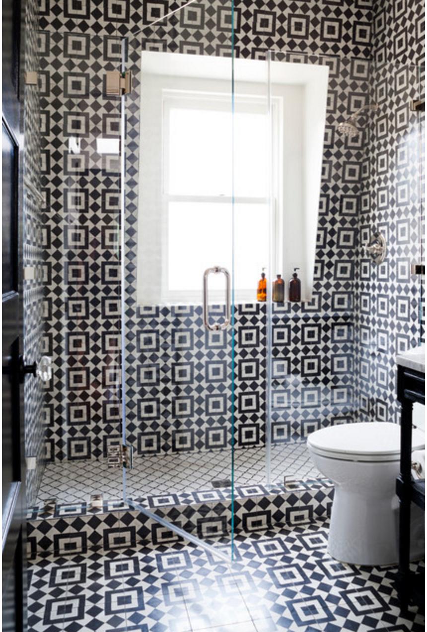 Granada tile s fez cement tile makes a bathroom pop for Fez tiles