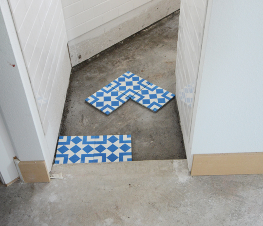 You Might Think From The Photo Above There Was Some Debate As To Which Way Lay Cement Tile Square Entrance Shower Or Angled