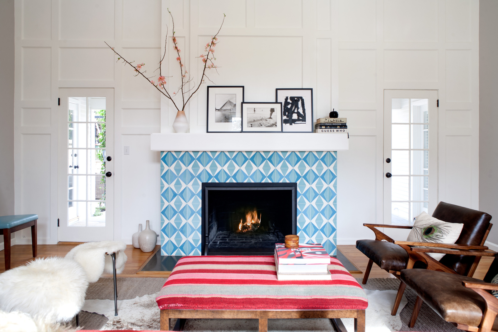 Granada Cement Tiles As Fireplace Tile Are Hot And Cool Granada