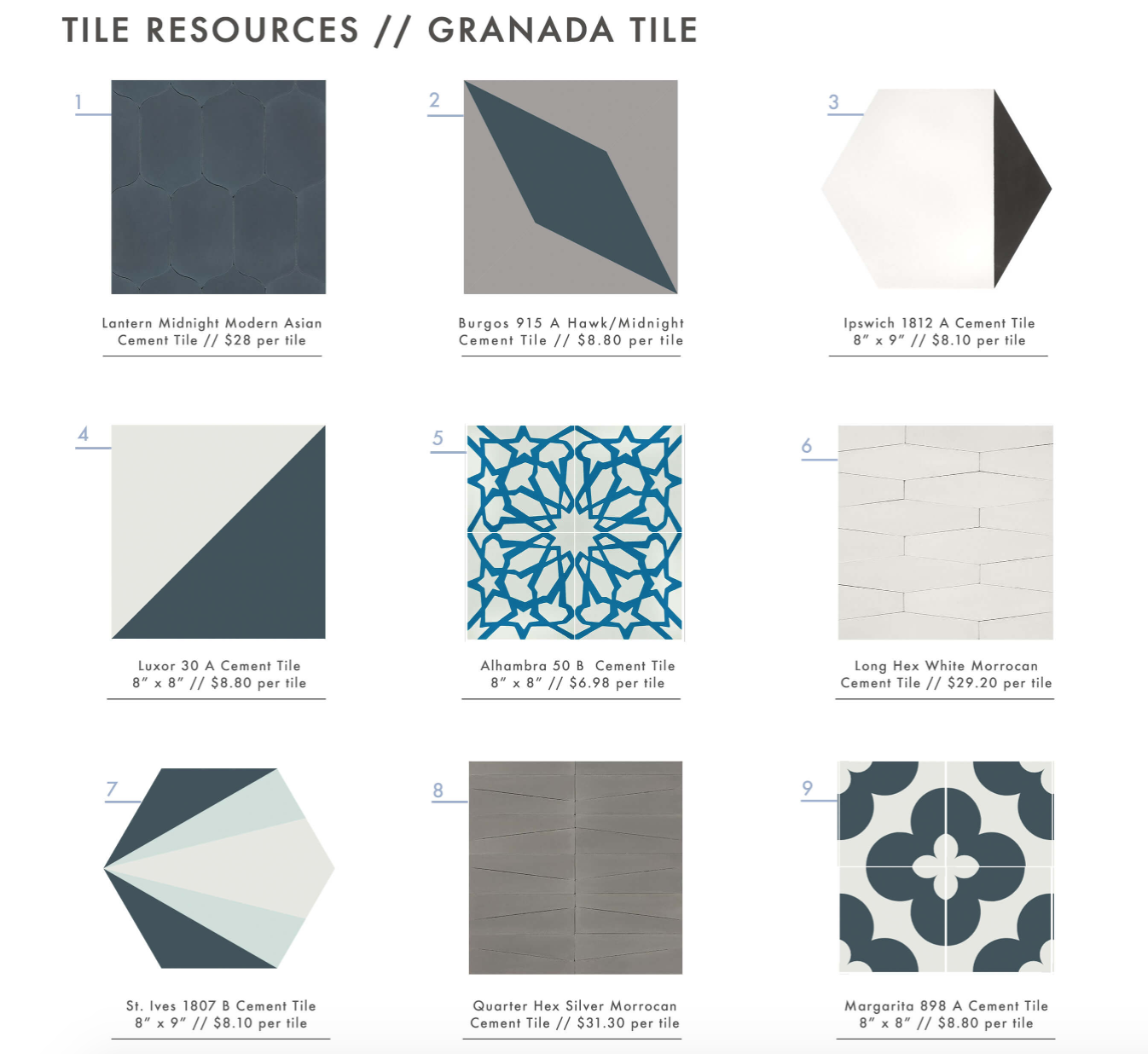 Emily Henderson chooses her favorites from Granada cement tile