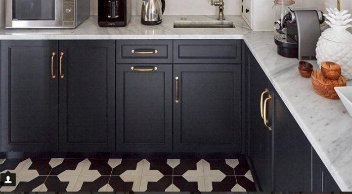 Granada Tile's Badajoz cement tiles in a pantry design by Kitchen Lab Interiors