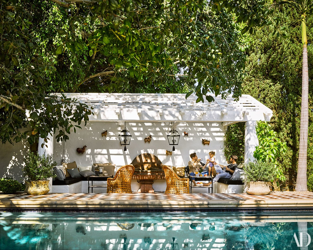 Nate Berkus' Granada Tile covered deck in AD. Photo by Douglas Friedman