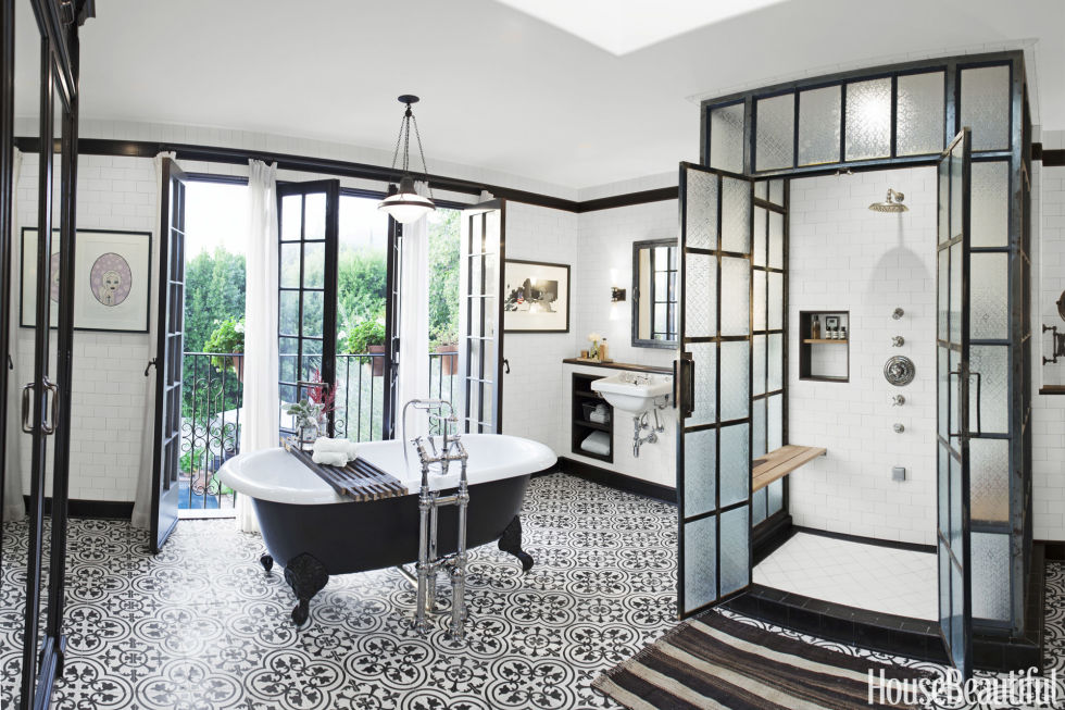 Granada Tile's black and white Cluny cement tiles pave the way for a glamorous bathroom designed by Dierdre Doherty