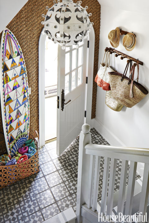 Granada Tile's Fez cement tiles decorate the entry in a home designed by Colleen Bashaw for one of the founders of Anthopologie