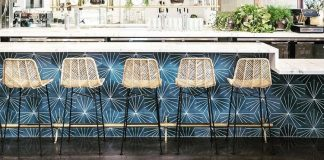 Get the look of Fundamental LA's downtown bar using Granada Cement Tiles New Orleans Hex Tiles