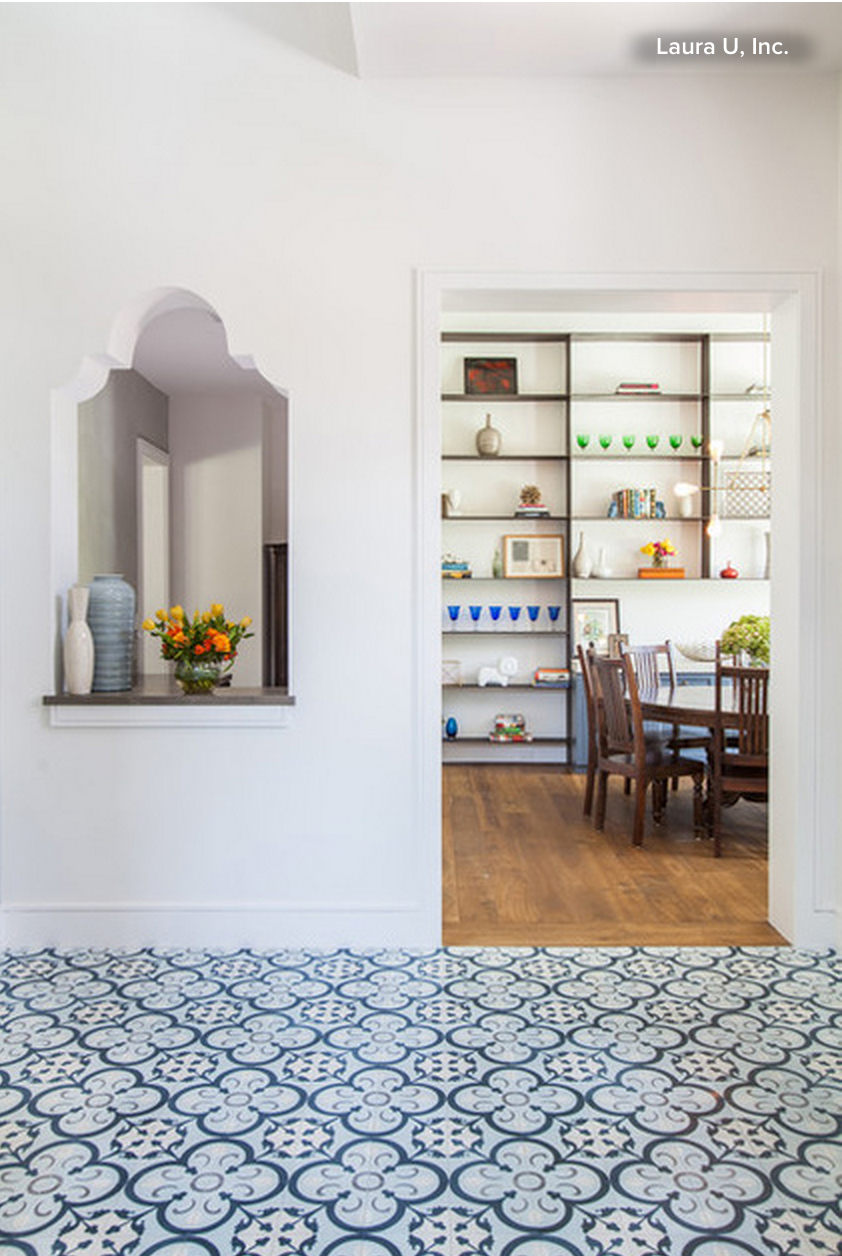 Granada Tile's Normandy cement tile in a project by Laura Umansky