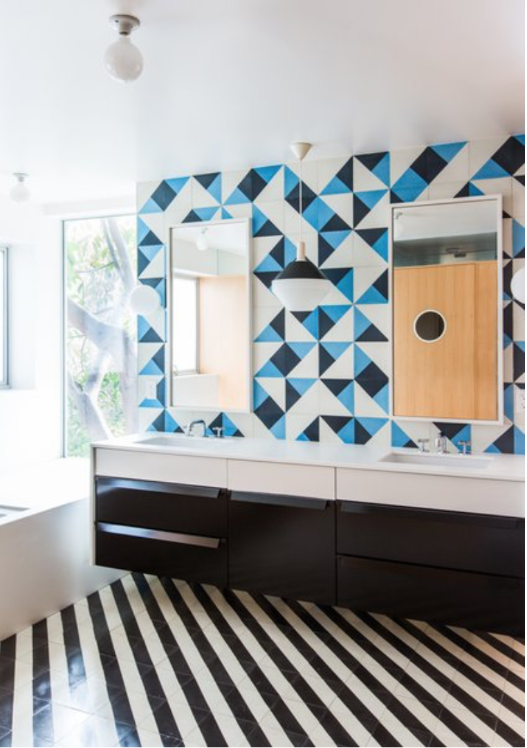 Serengeti And Santander Cement Tiles Are A Mod Pairing In A Bathroom ...