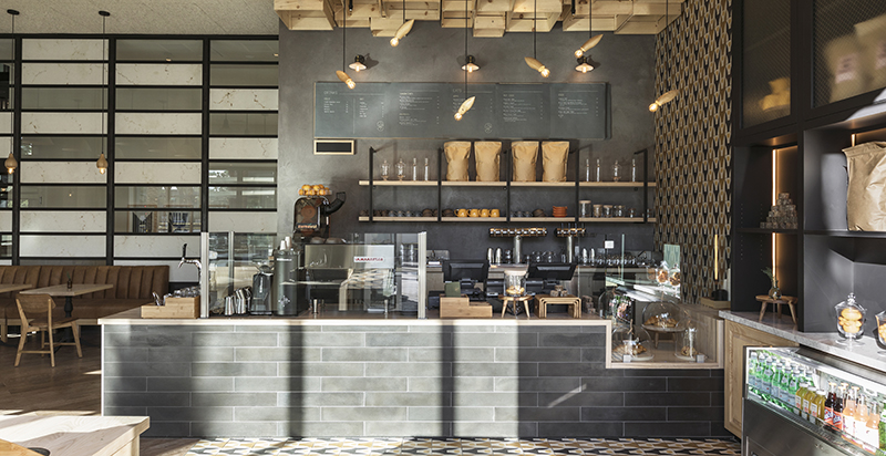 Granada Tile's Stockholm cement tiles at Juniper Table at Kimpton Rowan Palm Springs, by Will Taylor/Bright Bazaar
