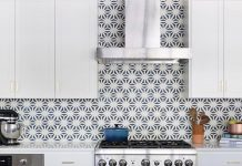 An Austin kitchen is elevated by a backsplash of Granada Tile's Tunis cement tiles