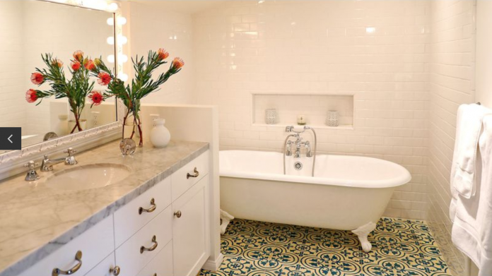 Granada Tile's Cluny cement tiles give actress Heather Graham's home a zen world traveler look