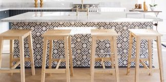 In a kitchen designed by ModOp and Better Shelter, Granada Tile's Madesimo cement tiles transform an all white space
