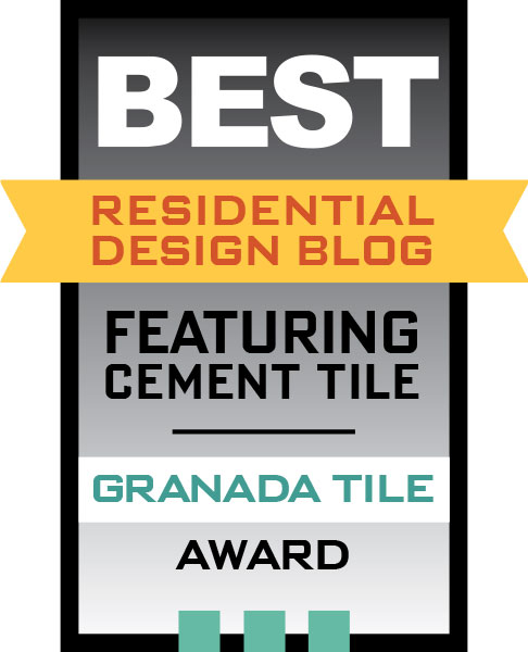 Award badge for best residential design blog featuring cement tile