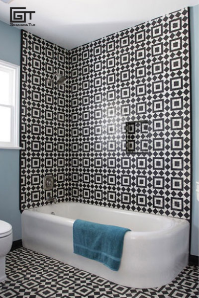 Granada Tile company's Fez design in a bathroom
