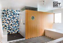 Santander stripes and Maldon tiles in the bathroom