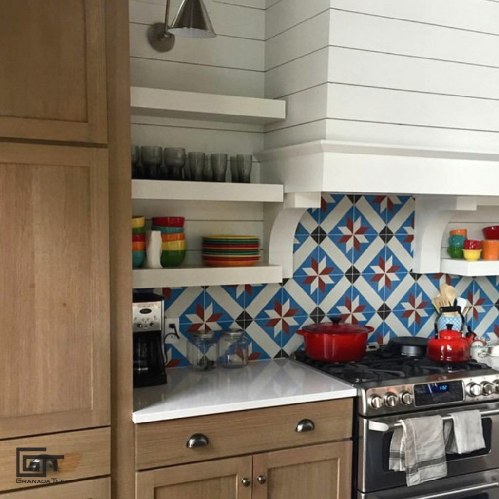 A kitchen backsplash with Granada Tile's Toscano pattern