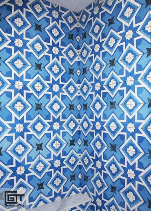 Blue encaustic tile pattern