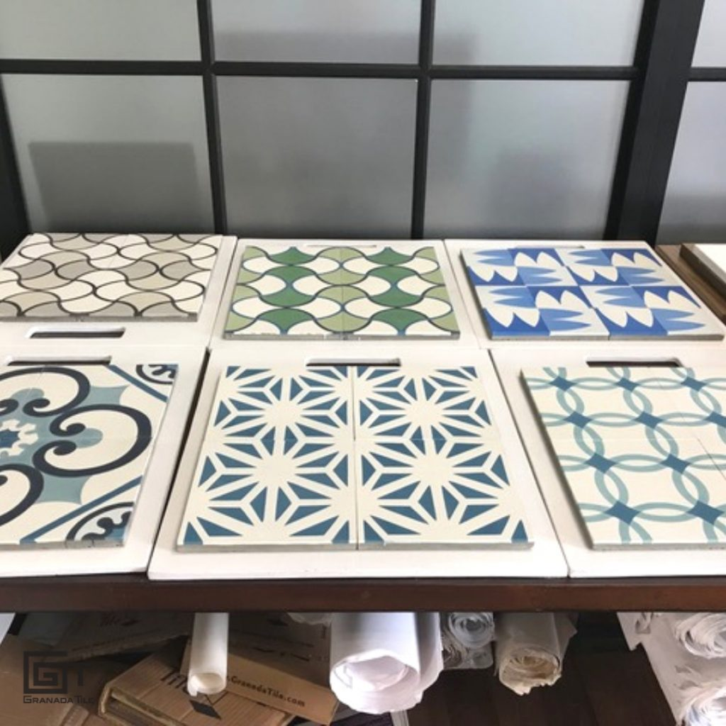 Custom tiles laid out on a table