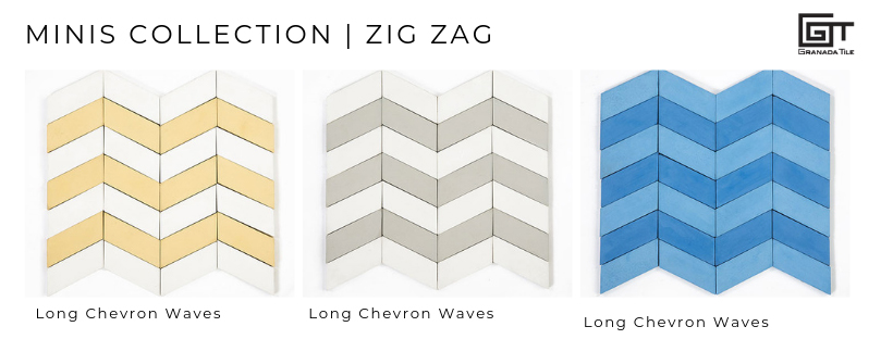 Long Chevron Waves cement tiles from the Minis Collection