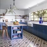 Blue and white kitchen with Sofia cement tiles