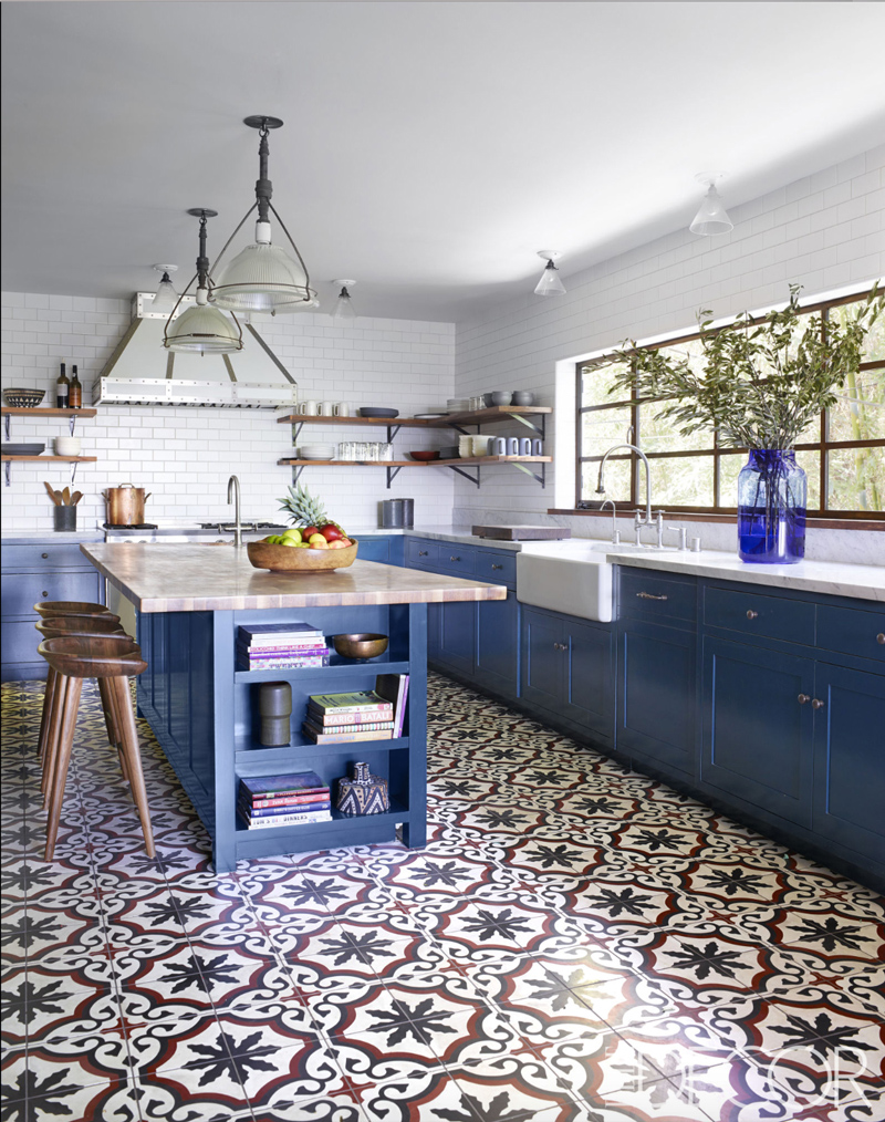 Blue And White Kitchen With Sofia Cement Tiles Granada Tile Cement Tile Blog Tile Ideas Tips And More