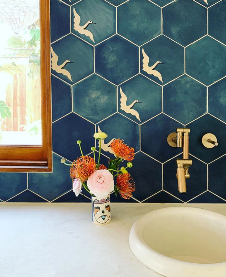 Custom Egret cement tile in a bathroom