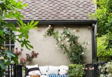 Designer Emily Henderson's patio design with Buniel cement tiles