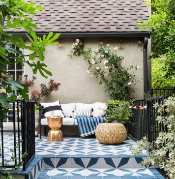 Designer Emily Henderson's patio design with Buniel cement tiles
