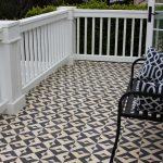 Designer Jill Burnham's patio design with custom Serengeti tiles