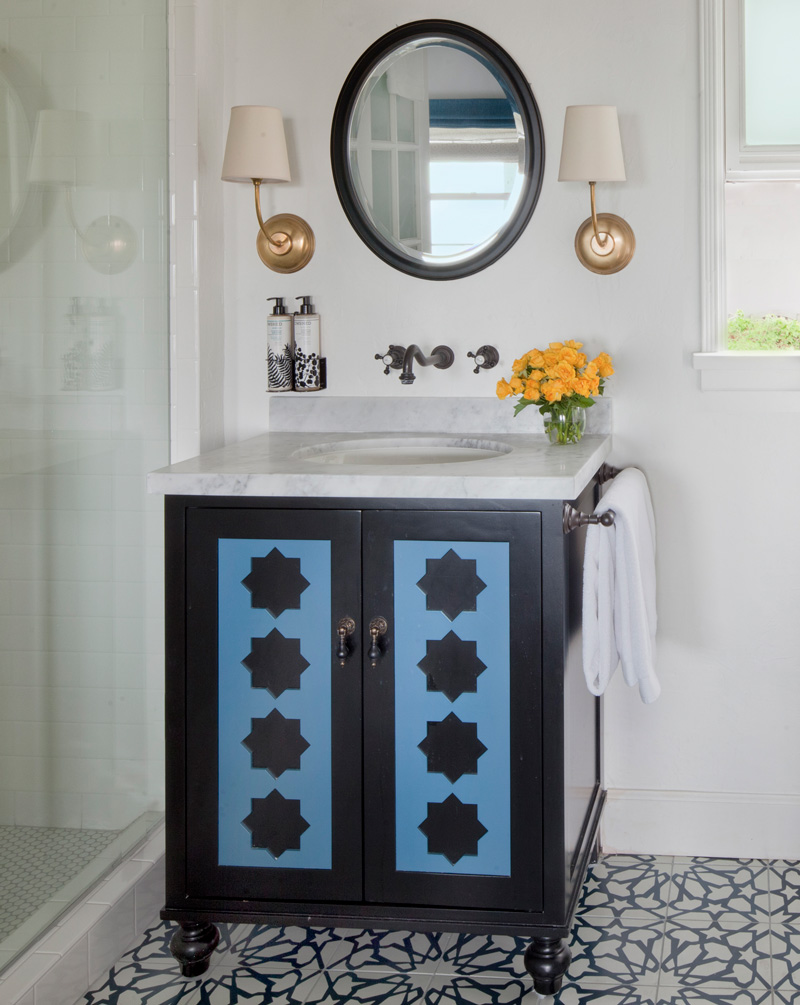 A bathroom sink with an Alhambra pattern from Granada Tile's Echo collection