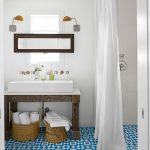 A bathroom with Fez cement tile flooring