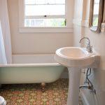 A bathroom with Granada Tile's Sofia pattern