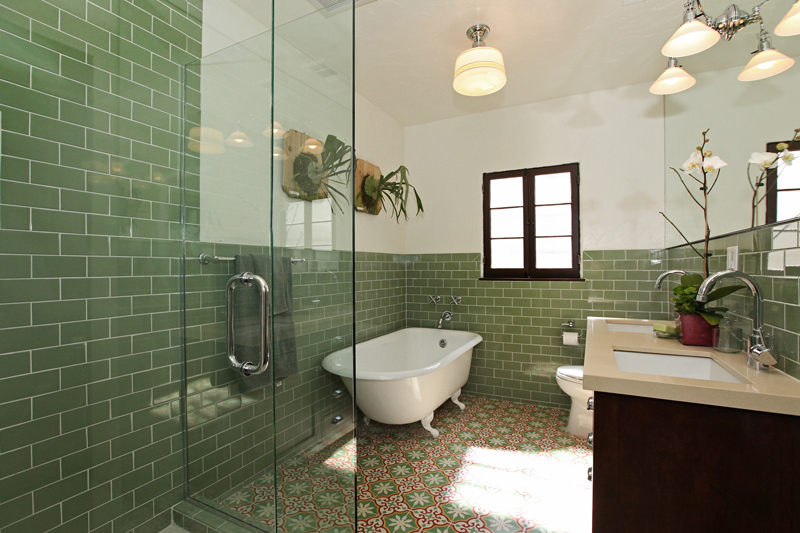 A bathroom with Granada Tile's Sofia pattern