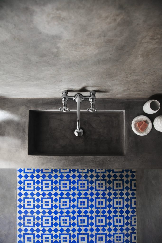 Sink floor with Fez cement tile from Granada Tile's Echo collection