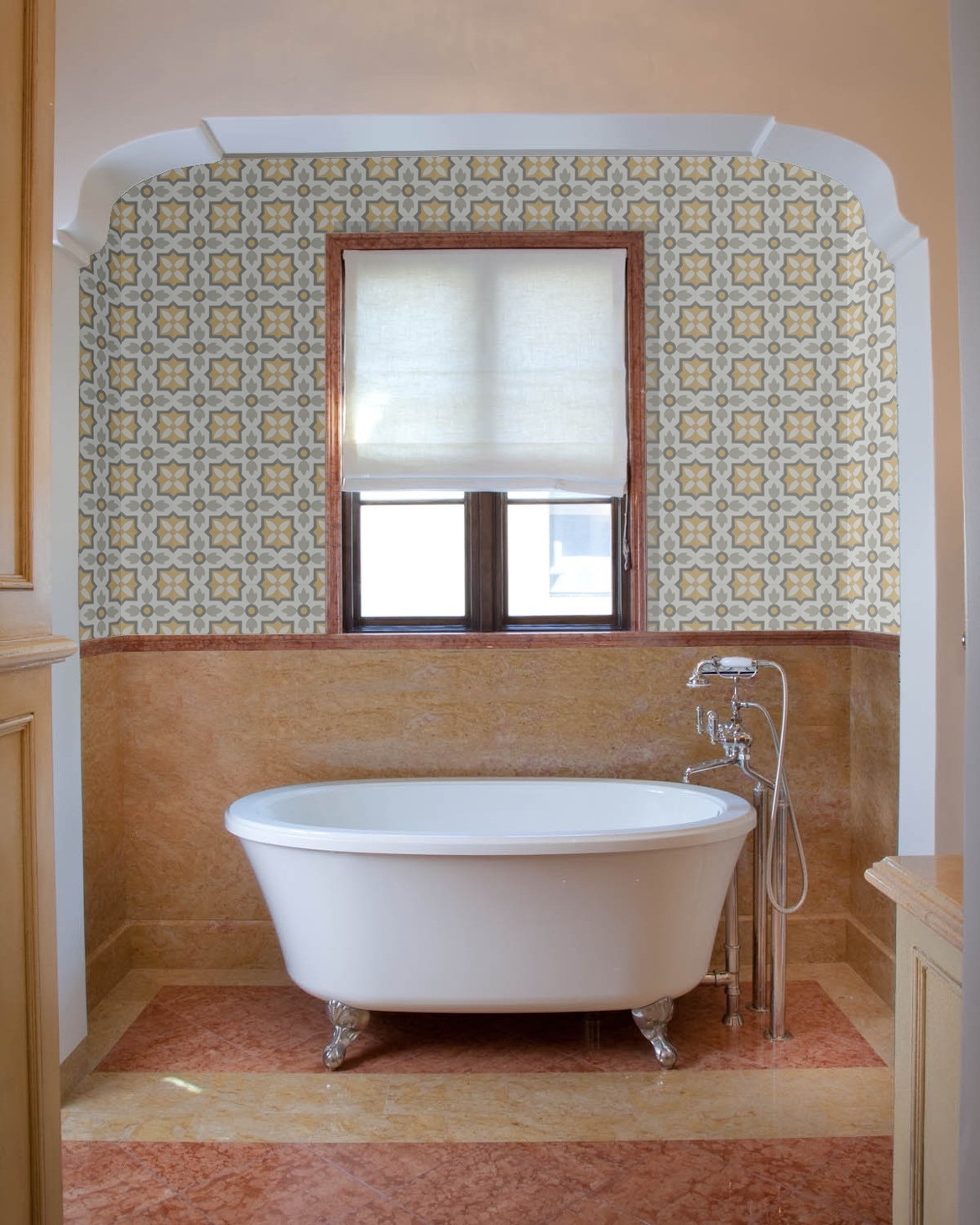 Designer Paul Schatz uses Granada Tile's cement tile pattern, Flor, to create a classic and elegant bathroom design