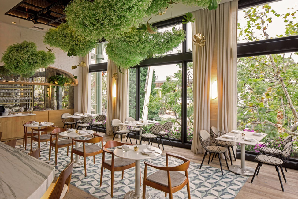 A restaurant designed using cement tiles from Granada Tile
