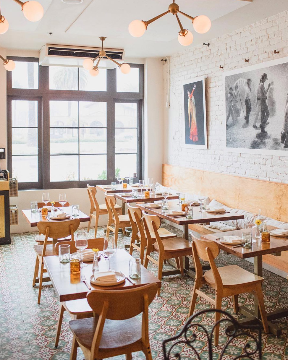 Loquita Santa Barbara restaurant uses Sofia Cement tile for flooring
