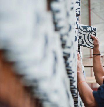 A Tile Manufacturer worker creating tiles