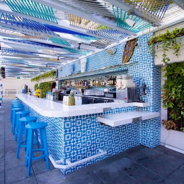 Design by Arsalun Tafazoli in the outdoor space at Fairweather Bar in San Diego