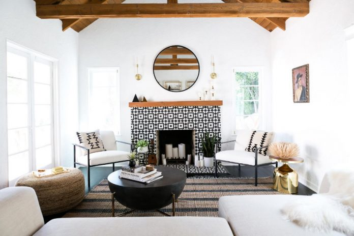 A fireplace created by using Fez cement tiles and designed by Monica Wang Design