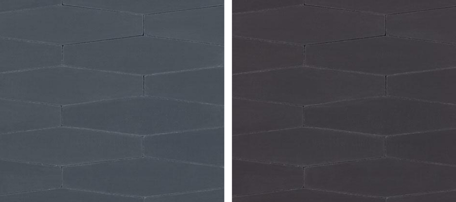 Long Hexes cement tiles in Midnight and Black