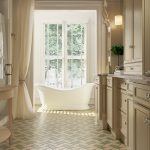 Weave Pattern from the Andalucia Collection used for floor cement tiles in a bathroom