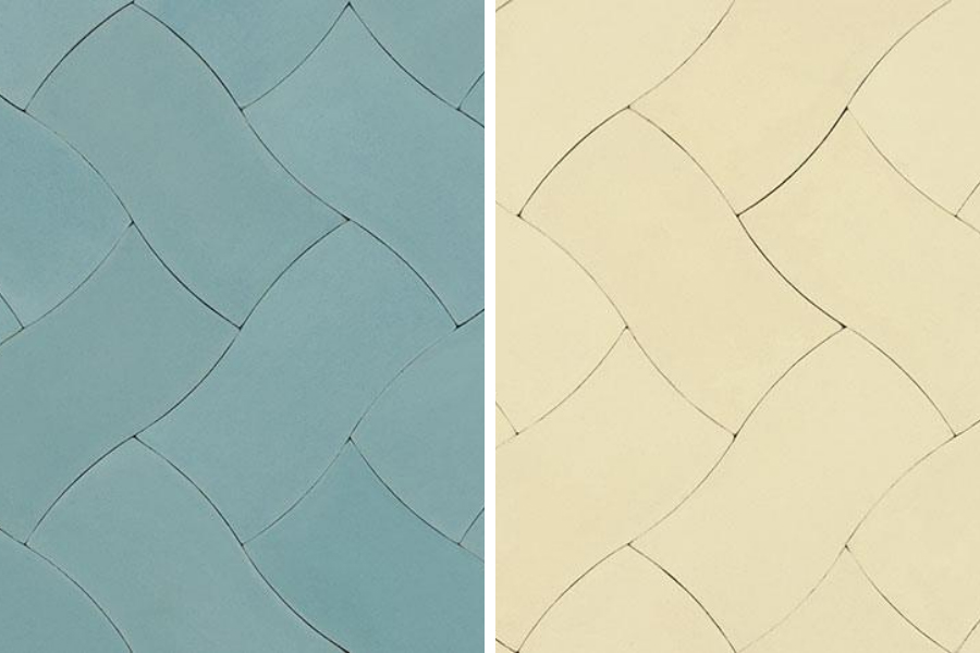 Weave cement tiles in Aqua and Cream
