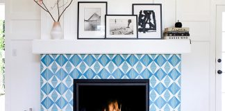 Beautiful fireplace crafted using Hokkaido Cement Tiles